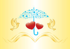 Two hearts under umbrella - vector Royalty Free Stock Photos