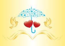 Two hearts under umbrella - vector. Illustration Royalty Free Stock Photos