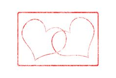 Two Hearts Valentine Grunge Rubber Stamp Royalty Free Stock Photos