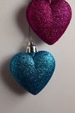 Two hearts. View of two hearts, Christmas decoration iin clear background Royalty Free Stock Images