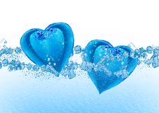 Two hearts from water Stock Photo