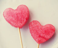 Two hearts from a water-melon Royalty Free Stock Photos