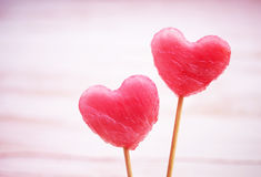 Two hearts from a water-melon Stock Images