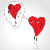 Two hearts whit face and body - dream - funny vector Royalty Free Stock Photo
