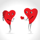 Two hearts whit face and body - give heart -  Royalty Free Stock Photos