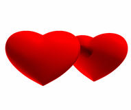 Two hearts on a white background. Two hearts isolated on a white background Royalty Free Stock Photos