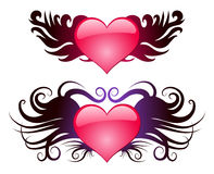 Two hearts with wings Stock Image