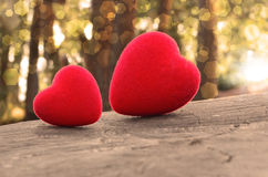 Two hearts. On the wood royalty free stock photo