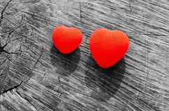 Two hearts. On the wood royalty free stock photos
