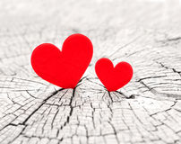 Two hearts. On The wood royalty free stock photography