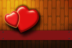 Two hearts on the wood background vector illustration