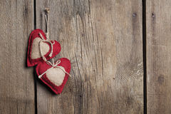 Two Hearts Wood Background Royalty Free Stock Photos