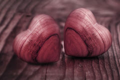 Two hearts of wood Stock Photography