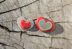 Two Hearts on Wood. Stock Photo