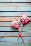 Two hearts on wooden background Royalty Free Stock Image