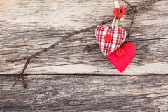 Two hearts on wooden background. Toned, copy space. Stock Photography