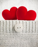 Two hearts in wool pocket Stock Image