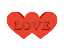 Two hearts. Word LOVE cutout inside. Stock Photo