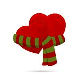 Two hearts wrapped up with a scarf. Royalty Free Stock Photography