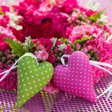 Two hearts. Wreath of roses with two hearts Royalty Free Stock Image