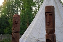Pagan idols in front of the tent Stock Photos