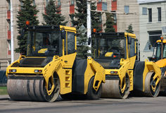 Two heavy asphalt roller in the street Royalty Free Stock Images