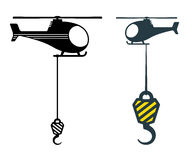 Two heavy duty hooks suspended from choppers Royalty Free Stock Photos
