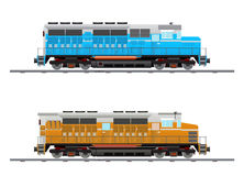 Two heavy locomotive. Image of two heavy locomotives with powerful diesel engines Stock Images