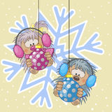 Two Hedgehogs in a fur headphones royalty free illustration