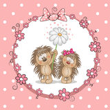 Two Hedgehogs. Greeting card with two hedgehog in a frame stock illustration