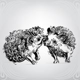 Two hedgehogs in ornament Royalty Free Stock Images