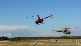 Two helicopters are flying, helicopter games, search operations, rescue stock footage