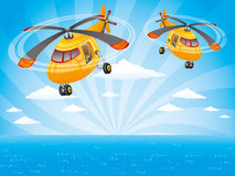 Two helicopters in the sky. Stock Image