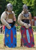 Two Helmeted Gladiators Stock Image
