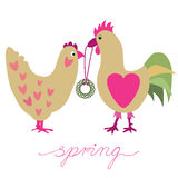 Two hens. Vector illustration background or post card with hen and cockerel Stock Photography