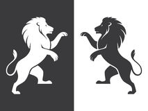 Two heraldic lions rampant Stock Images