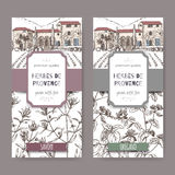 Two Herbes de Provence labels with cottage, savory and oregano. Two Herbes de Provence labels with Provence cottage, savory and oregano sketch. Culinary herbs Royalty Free Stock Images