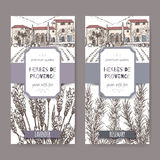 Two Herbes de Provence labels with mansion, lavender and rosemary. Two Herbes de Provence labels with Provence mansion landscape, lavender and rosemary sketch on Stock Photo