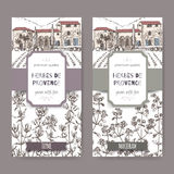 Two Herbes de Provence labels with mansion, thyme and marjoram. Two Herbes de Provence labels with Provence mansion landscape, thyme and marjoram sketch on white Royalty Free Stock Photos