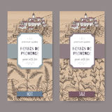 Two Herbes de Provence labels with town, mint, sage sketch. Two Herbes de Provence labels with Provence town landscape, mint and sage sketch. Culinary herbs Stock Image