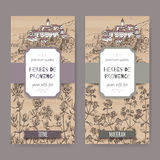 Two Herbes de Provence labels with town, thyme and marjoram. Two Herbes de Provence labels with Provence town landscape, thyme and marjoram sketch. Culinary Stock Photo