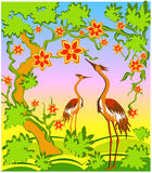 Two herons in east style stock illustration