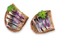 Two herring sandwiches Stock Images