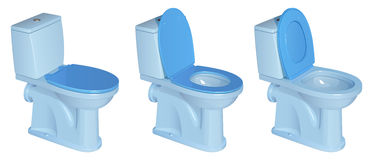 Blue ceramic toilet bowl with plastic lid and seat, in three versions - with closed and open lid, with raised and lowered seat Royalty Free Stock Photo