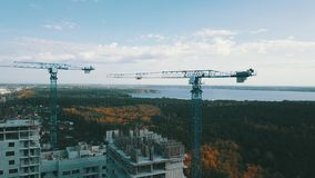 House construction crane stock video