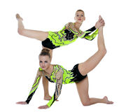 Two high skill acrobats funny portrait. Two high skill acrobats women funny portrait isolated Royalty Free Stock Photos