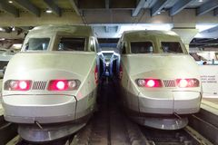 Two high-speed bullet TGV trains at the Gare Montparnasse Royalty Free Stock Photo