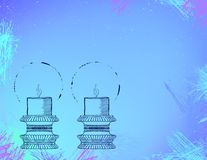 Two highly ornamental candles on watercolor. Royalty Free Stock Photos