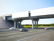 Two highway billboards. 3d rendering. Two blank highway billboards on bridge. 3d rendering Stock Images