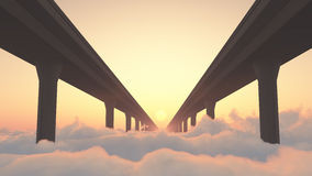 Road to Heaven Highway Above Clouds Royalty Free Stock Photos